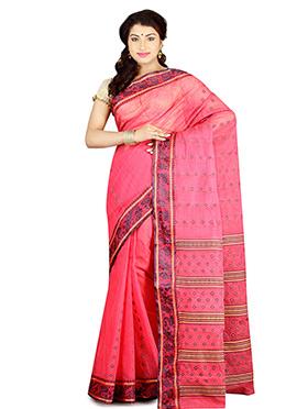 Pink Bengal Handloom Tant Saree