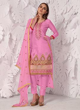 Pink Cotton Satin Straight Pant Suit
