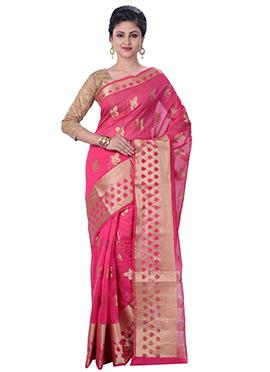 Pink Cotton Silk Handloom Saree