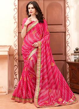Pink Cotton Silk Leheriya Saree