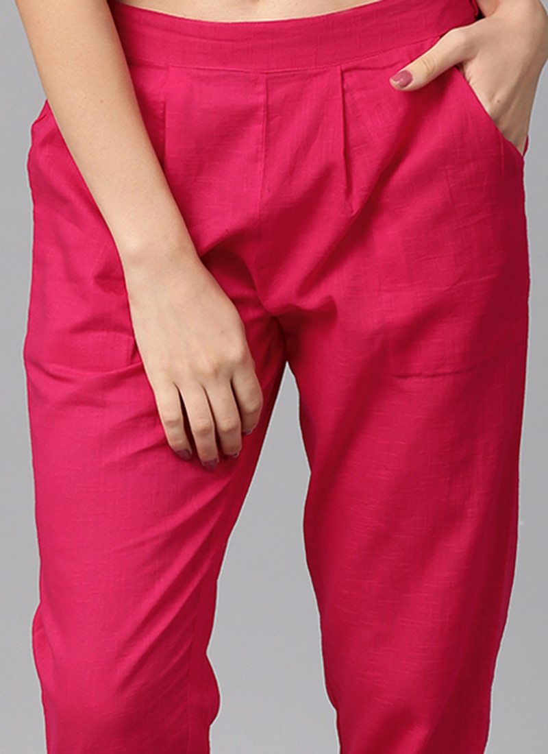 Buy Pink Cotton Straight Pant After Six Straight Pant