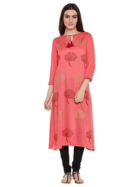 Pink Cotton Viscose Kurti