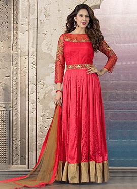 Pink Crepe Abaya Style Anarkali Suit