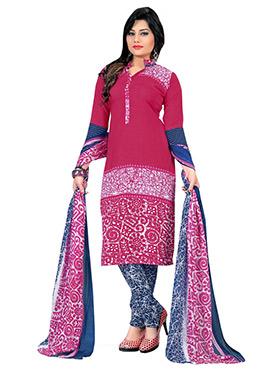 Pink Crepe Churidar Suit