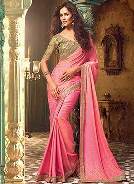 Pink Crepe Silk border Saree