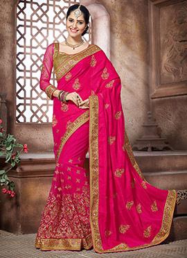 Pink Crepe Silk N Net Half N Half Saree