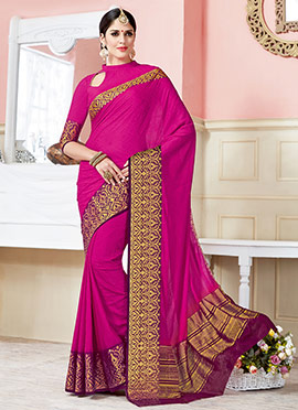 Pink Crepe Silk Saree