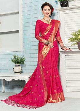 Pink Crepe Silk Saree