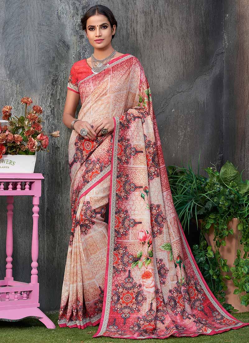 7c5d02b455 Buy Pink Digital Printed Saree, Tussar , Digital Print, sari Online ...