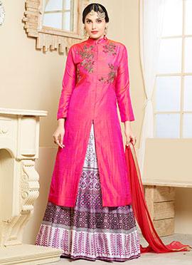 Pink Dual Tone Art Silk Long Choli A Line Lehenga