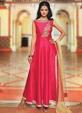 Pink Dupion Silk Anarkali Suit