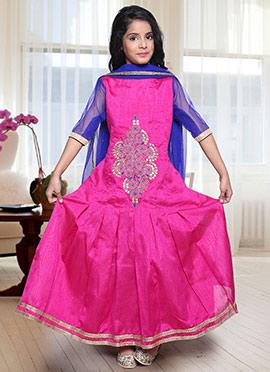 Pink Dupion Silk Kids Anarkali Suit