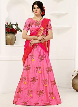 Pink Embroidered A Line Lehenga