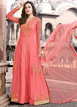Pink Embroidered Anarakli Suit