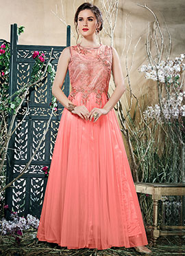 Pink Embroidered Anarkali Gown