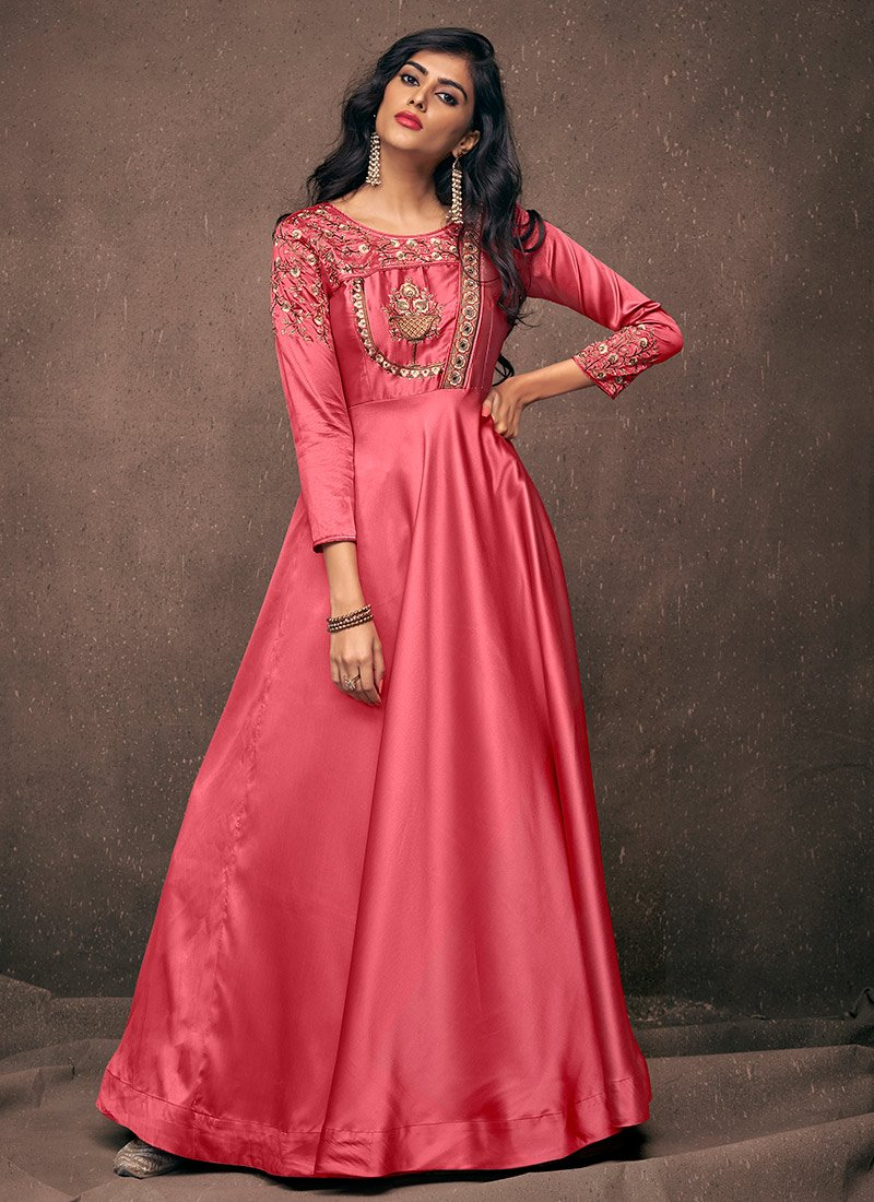 Buy Pink Embroidered Anarkali Gown Embroidered Dresses And Gown