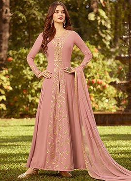681409a92f4 Pink Embroidered Anarkali Suit doodle