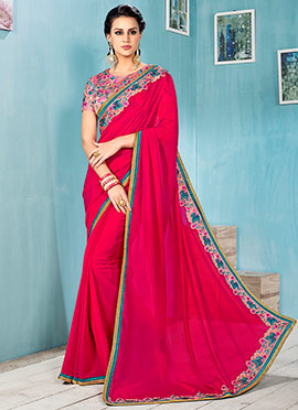Pink Embroidered Art Silk Saree