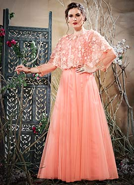 Pink Embroidered Capes Style Anarkali Gown