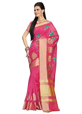 Pink Embroidered Chanderi saree