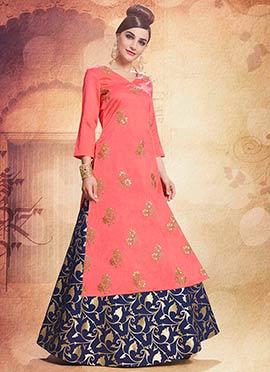 Pink Embroidered Indowestern Skirt Set