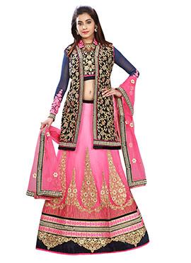 Pink Embroidered Jacket Style Lehenga