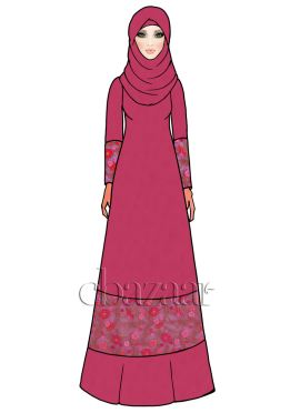 Pink Embroidered Net Abaya
