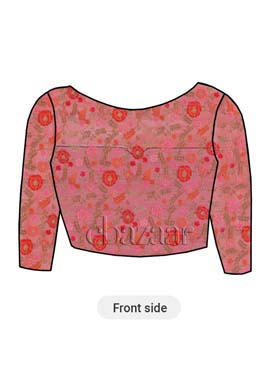 Pink Embroidered Net Boat Neck Blouse