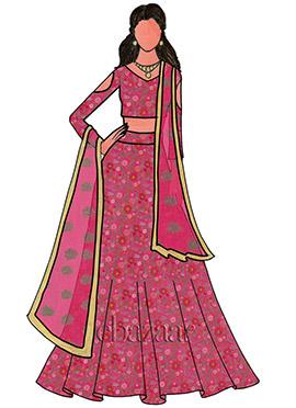 Pink Embroidered Net Bridal Lehenga