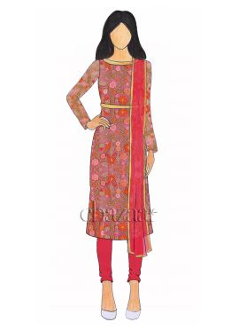 Pink Embroidered Net Churidar Suit