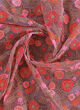 Pink Embroidered Net Fabric