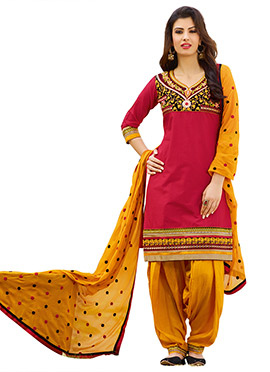 Coral Pink Embroidered Semi Patiala Suit