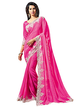 Pink Embroidered Scallop Border Saree