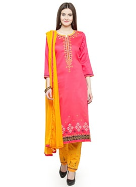 Pink Embroidered Straight Pant Suit