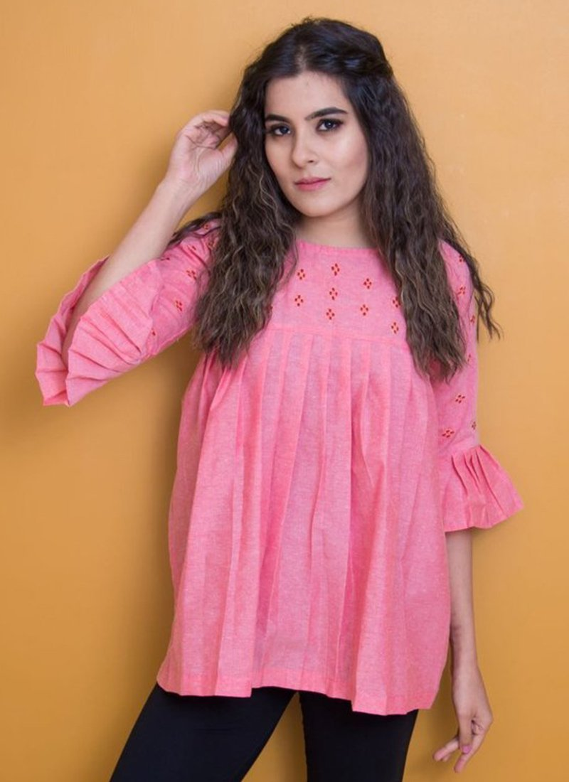 1034b6b77e5 Buy Pink Embroidered Tunic, Embroidered, tops and tunics Online ...