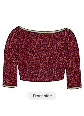 Pink Embroidered Velvet Blouse