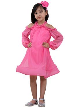 Pink Faux Georgette Kids Dress