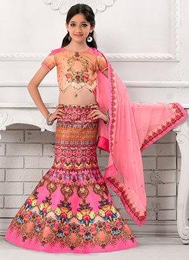 Pink Fish Cut Kids Lehenga Choli