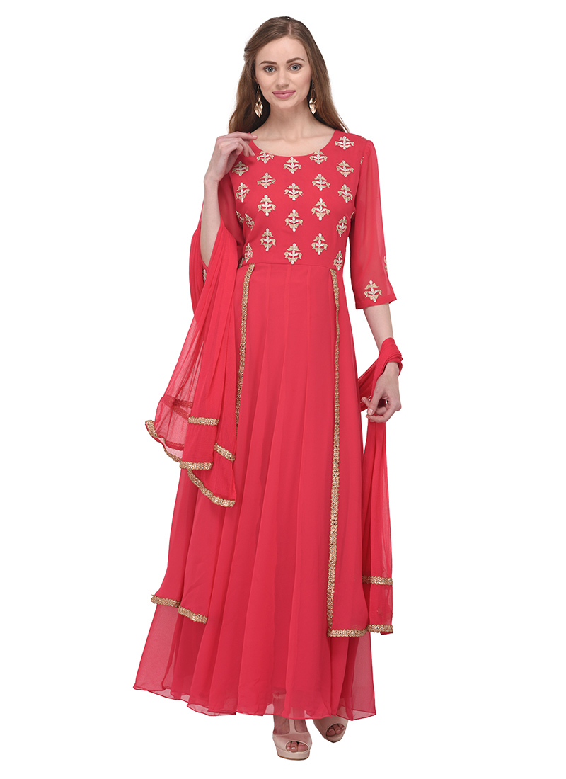 e4bc52ebd6f Buy Pink Georgette Abaya Style Anarkali Suit