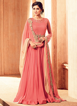 Salmon pink Georgette Abaya Style Anarkali Suit