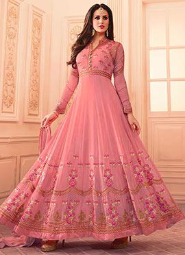 Pink Georgette Abaya Style Anarkali Suit