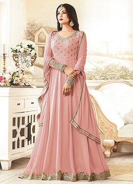 Pink Georgette Abaya Style Anarkali Suit