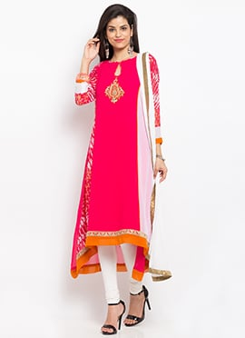 Pink Georgette Asymmetrical Anarkali Suit