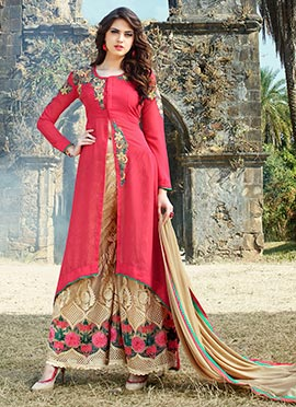 Pink Georgette Asymmetrical Palazzo Suit
