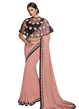 Pink Georgette Cape Style Border Saree