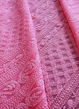 Pink Georgette Chikankari Fabric