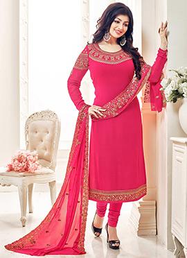 Ayesha Takia Pink Georgette Churidar Suit
