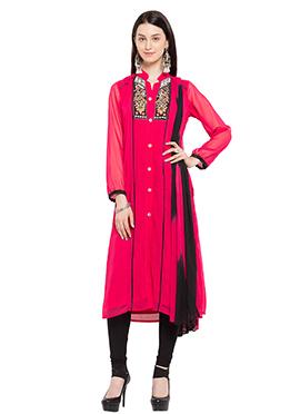 Pink Georgette Churidhar Suit