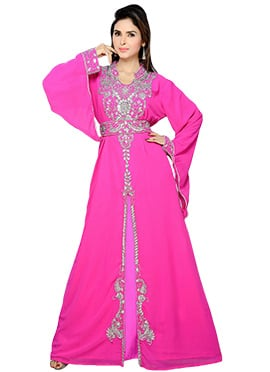Pink Georgette Embellished Center Slit Fustan
