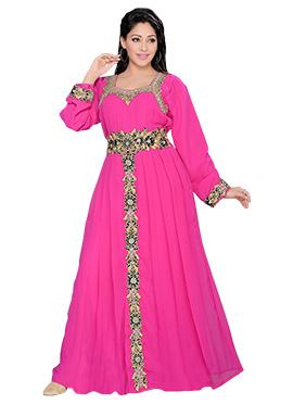 Pink Georgette Embellished Fustan